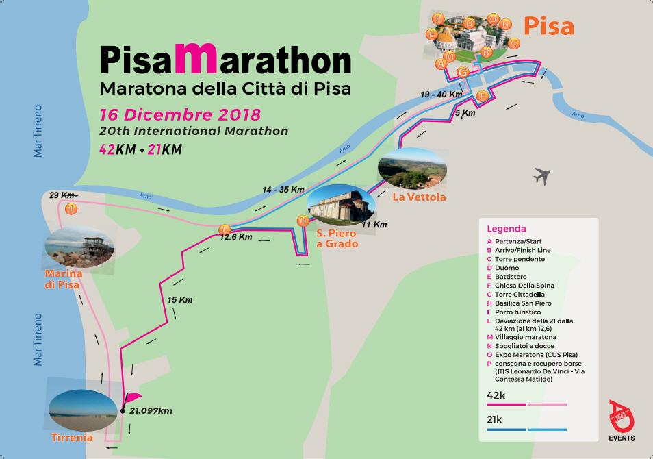 2018 Pisa Marathon Race Course
